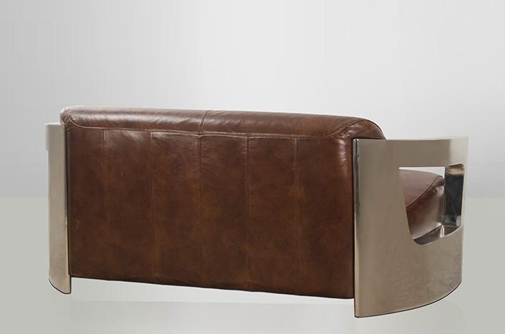 Marsy ledersofa metall armlehnen industriedesign for Sofa industriedesign