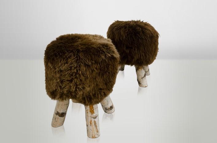 fellhocker 2er set braunes fell lederm bel fellm bel stuhl hocker. Black Bedroom Furniture Sets. Home Design Ideas