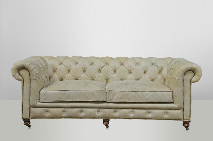kent ledersofa shabby creme chesterfield leder m bel sofa. Black Bedroom Furniture Sets. Home Design Ideas