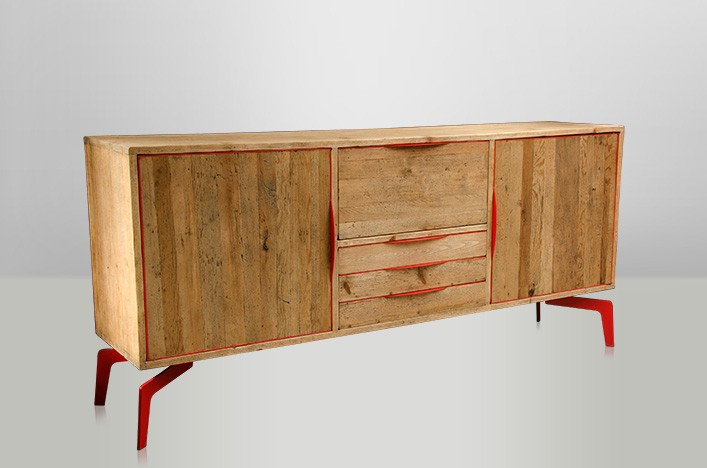 jim sideboard holz metall sale. Black Bedroom Furniture Sets. Home Design Ideas