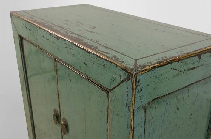 LINDA, Kommode blau vintage Altholz Möbel Kommoden