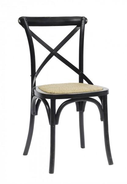 joel stuhl mit kreuzlehne landhausstil schwarz 2er pack. Black Bedroom Furniture Sets. Home Design Ideas