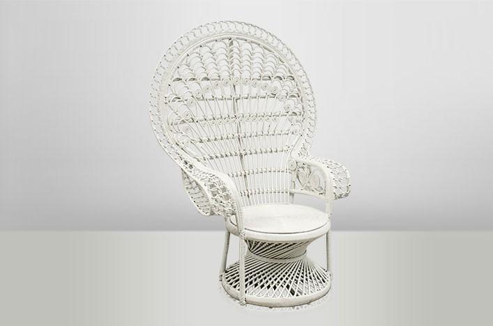 ella rattansessel pfauenstuhl wei vintage m bel sessel. Black Bedroom Furniture Sets. Home Design Ideas