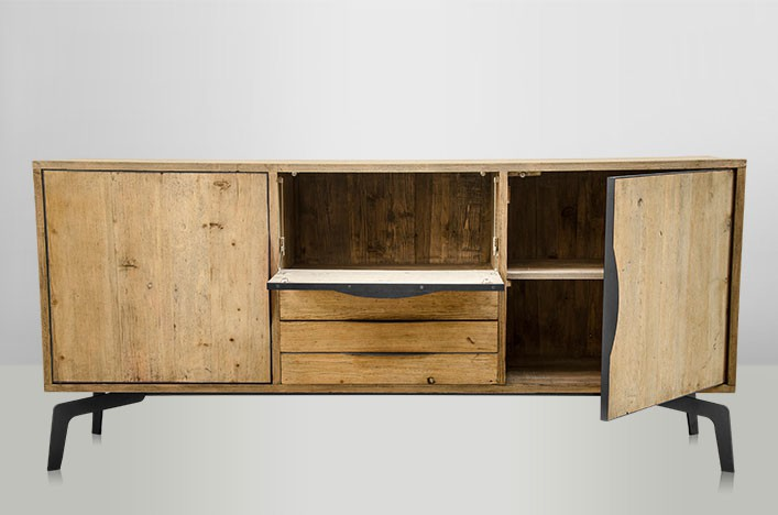 jim sideboard holz metall industriedesign m bel sideboard. Black Bedroom Furniture Sets. Home Design Ideas