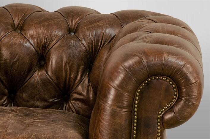 Chesterfield Sessel, Leder in zwei Farben, Gr: B123 x T96 x H77 cm ...