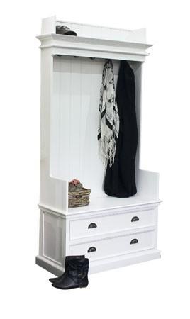 Garderob garderob sitzbank : FREYA, weiße Garderobe mit Sitzbank Landhausmöbel Aufbewahrung ...