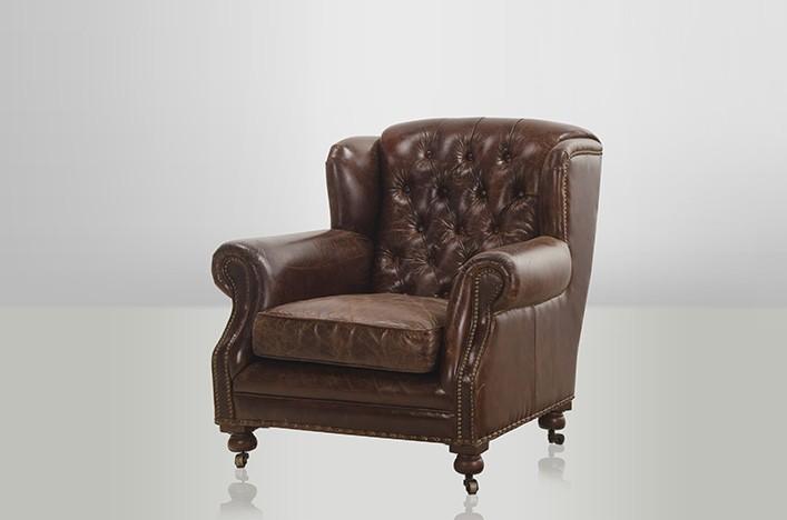 ardy leder ohrensessel braun vintage lederm bel sessel. Black Bedroom Furniture Sets. Home Design Ideas