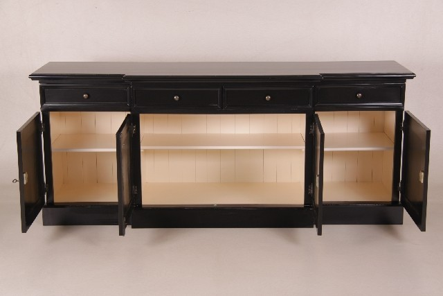 ria sideboard schwarz landhausm bel aufbewahrung kommode. Black Bedroom Furniture Sets. Home Design Ideas